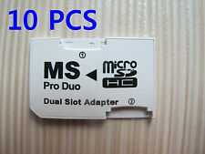 10pcs Micro SD TF to Memory Stick MS Pro Duo PSP Card Dual 2 Slot Adapter 64GB