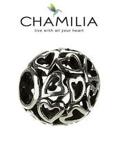 Genuine CHAMILIA 925 sterling silver CAPTURED HEARTS charm bead, RRP £30, love