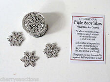p TRIPLE SNOWFLAKES BOX CHARM Prayer Christmas triplet unique snowflake wish gan