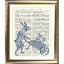 ART PRINT ON ORIGINAL ANTIQUE BOOK PAGE Animals Hare Vintage Rabbit Upcycled