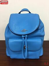 New Coach F37621 Mini Billie Backpack In Pebble Leather Silver / Azure