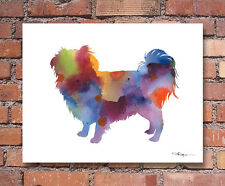 """Japanese Chin Abstract Watercolor 11"""" x 14"""" Art Print by Artist DJ Rogers"""