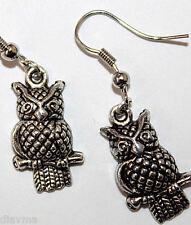 dark silver owl bird earrings