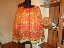OLEANA RED&RESEDA GREEN PURE WOOL KNITTED FLORAL CARDIGAN ESPELAND-L,14-UK