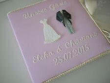rosa Gästebuch zur Hochzeit Hochzeitsgästebuch BRAUTPAAR, bestickt, Wunschname