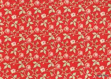 - Avalon Fleur rose clair fd rouge Tissu coton patchwork vetement Moda 20202-14