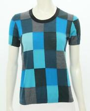 AKRIS punto geometric blue gray turquoise check sweater crewneck small S XS 6