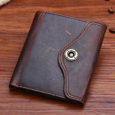 Men Crazy Horse Leather Button Trifold ID Document Credit Card Billfold Wallet