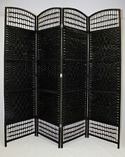 Room Divider Screen 4 Panel Black Folding Partition Privacy Changing Room Decor
