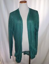 MAURICES Plus Size 1 1X Sweater Cardigan Teal Green Lace Accent