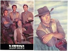 CLINT EASTWOOD & Cast of the Television Series ~RAWHIDE~ 2 Great Old Postcards