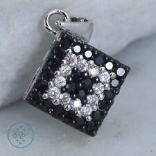 Sterling Silver   VICTORIA TOWNSEND Black & White Crystal Square 1.9g   Pendant