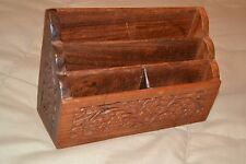"8""x 5"" x3"" Vintage Carved Wood Desk Letters/ Bills/ Coupons/ Cards/ Craft Holder"