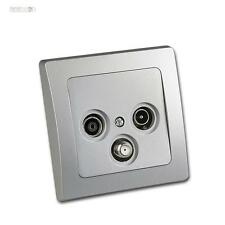 Antenna Socket Can socket TV+Radio+Sat-cable including Frame UP Silver