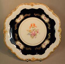 Prunkteller Reichenbach plato coloridas flores oro cobalto ornamentos barroco 33cm