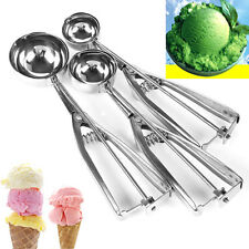 3 Pcs  Stainless Steel Spring Handle Ice Cream Scoop Spoon Mashed Potato Cookie