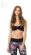 Body Language Sportswear Alba Crop Top Butterfly Rose Black Sz S $95 NWT