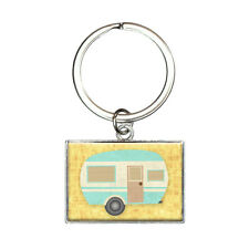 Camper Trailer RV Camping Rectangle Keychain Key Ring