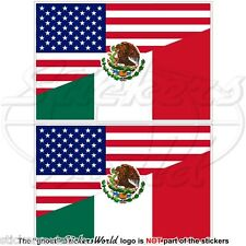 USA United States America-MEXICO American & Mexican Flag 75mm Stickers Decals x2