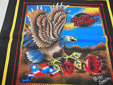 "NOS Harley Davidson Black Bandana with Bald Eagle & Roses MADE IN USA 22"" x 22"""