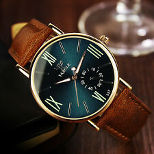 Fashion Men's Date Leather Stainless Steel Sports Quartz Noctilucent Wrist Watch