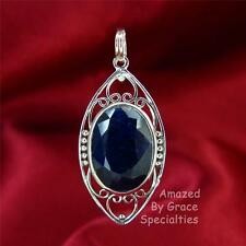 Genuine SAPPHIRE Pendant in SOLID Sterling Silver 925 Filigree setting