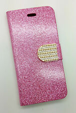 IPHONE 6 PHONE CASE RHINESTONE BLING PRESENT GIFT FLIP CASE PALE PINK GLITTER
