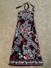 Nwt White House Black Market Red Paisley Floral Long Halter Dress Size Small