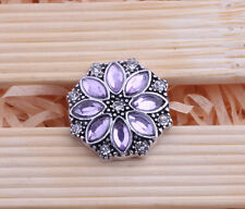 Pink Rhinestone Drill flower Charm Chunk Snap Button fit for Noosa Bracelet GE10