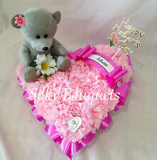 Mothers Day Artificial Silk Flower Teddy Heart Tribute Pink Mum Nan Funeral