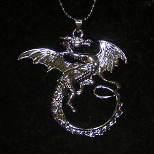 New Alloy Black Dragon Sweater Pendant on a 2mm Ball Link Chain Necklace