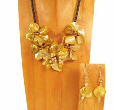 "16"" Handmade Golden Yellow Flower Shell and Seed Bead Necklace and Earring Set"