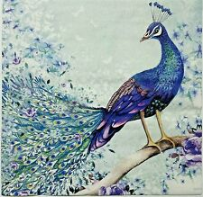 PEACOCK ON A BRANCH  2 individual LUNCH SIZE paper napkins for decoupage 3-ply
