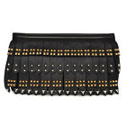 31889 auth PRADA black leather STUDDED FRINGE Clutch Bag