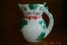 Vintage Lipper & Mann Pink/Green Cat Pitcher Creamer Japan Label - 4 1/4 Inch