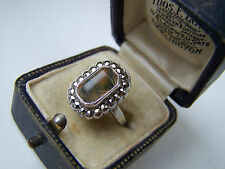 GORGEOUS VINTAGE STERLING SILVER MOSS AGATE & MARCASITE RING SIZE M UNUSUAL RARE