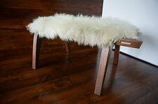 Minimaliste acajou bois indoor banc rembourré scandinav en peau de mouton tapis - 6