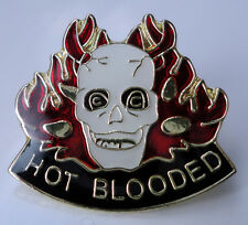ZP135 Hot Blooded Skull with Flames Biker Motorcycle Lapel Pin Badge Hardcore