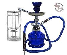 MYA Style Blue Hookah Nargile Huka Pipe with Vase Hose Case Cage Travel Set