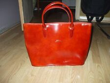 Longchamp Paris red rust patent leather & suede tote shopper book travel bag