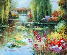 Lily Pond Weeping Willow Trees Iris Flowers Bridge 20X24 Oil On Canvas Painting