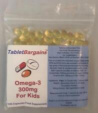Tablet Bargains - Omega-3 Fish Oil For Kids 300mg - 100 Capsules - DHA EPA