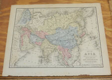 1870 Mitchell Antique COLOR Map of ASIA/Hand-Colored