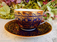 Gorgeous Antique Wedgwood Porcelain Cup & Saucers ~ Cobalt ~ Gold Y1581
