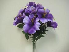"PURPLE Hibiscus Bush Artificial Silk Flowers 18"" Bouquet 14-4002PU"