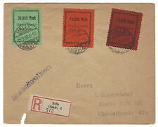 GERMANY HALLE 1923 local issue stamps on reg'd cover to Berlin