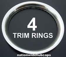 "4 NEW CHEVY 14"" STAINLESS STEEL TRIM RINGS BEAUTY BANDS EDGE GLAMOUR WHEELS RIMS"