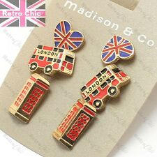 3prs GB studs LONDON BUS,PHONE BOX,UNION JACK red/gold fashion RETRO EARRINGS