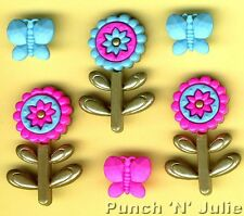 MOODY BLOOMS Pink Blue Flowers Burtterfly Craft Buttons