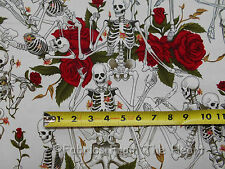 Skeltons Roses Life's Little Pleasures White YARDS Alexander Henry Cotton Fabric